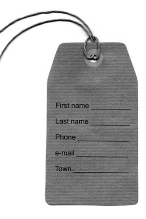 address tag with name, phone, email, and town fields
