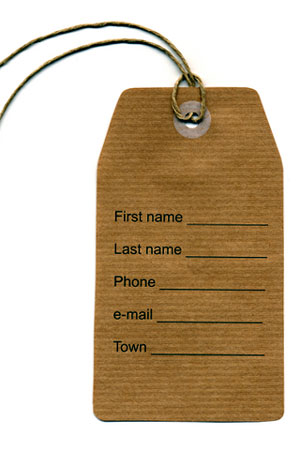 address tag with name, phone number, email address, and town fields
