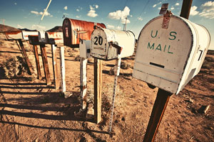 rural mailboxes in western United States